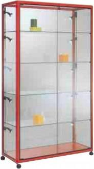 Vitrine d'exposition aluminium avec 4 étagères en verre - Devis sur Techni-Contact.com - 1