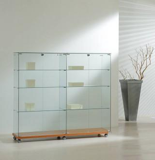 Vitrine d'exposition avec bois en bas 4 x 4 étagères - Devis sur Techni-Contact.com - 1
