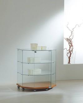 Vitrine d'exposition avec bois en bas à 2 étagères - Devis sur Techni-Contact.com - 1