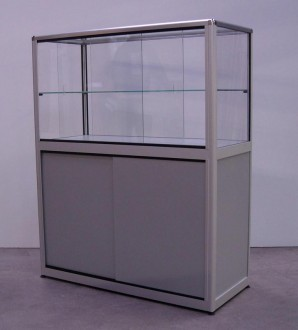 Vitrine d'exposition en verre et aluminium naturel - Devis sur Techni-Contact.com - 2