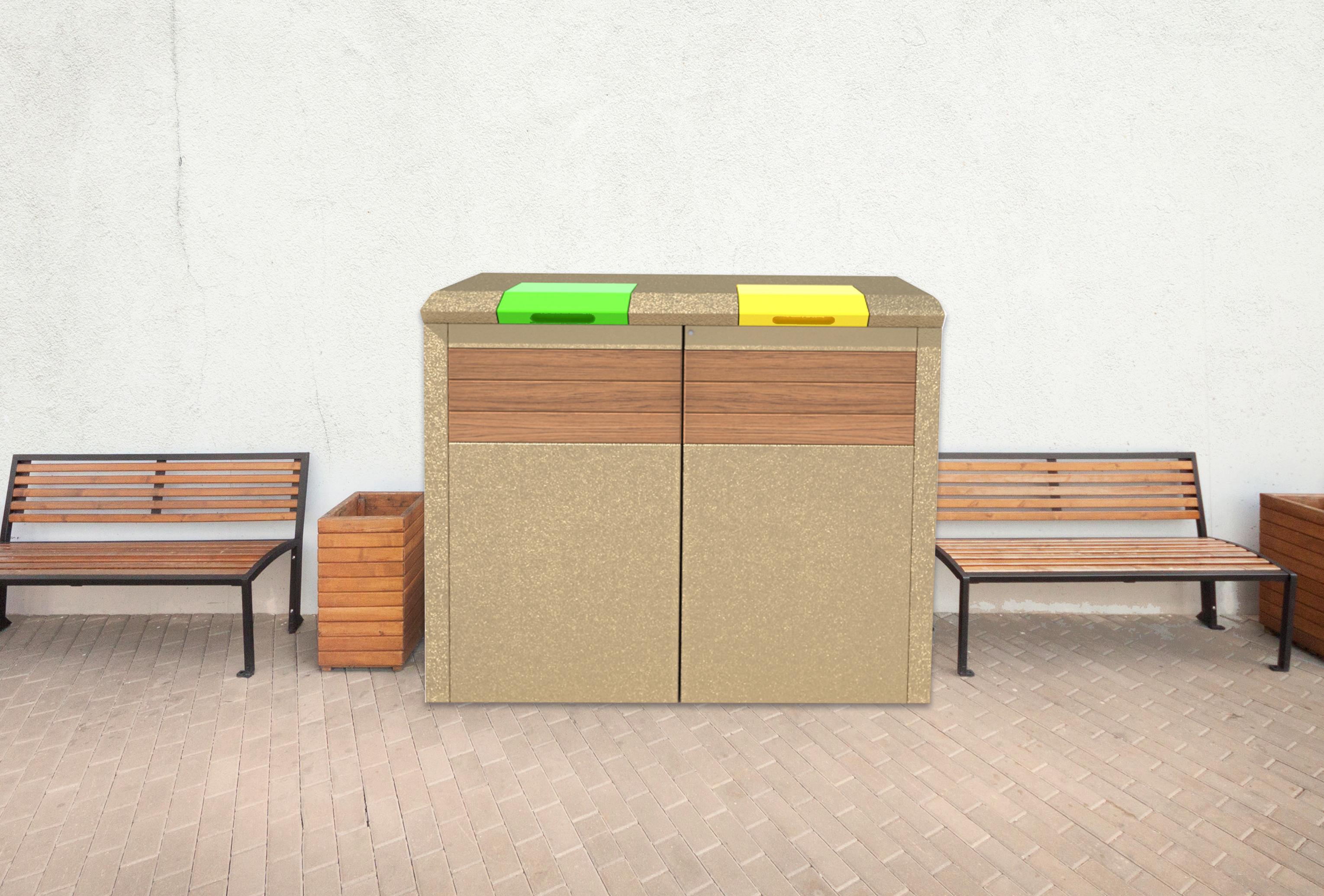 abri conteneur poubelle béton 360 l - abri poubelle beton - techni