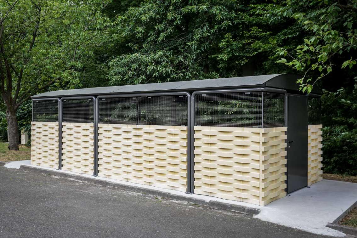 abri poubelle à toit arrondi - abri poubelle en acier fermé - techni