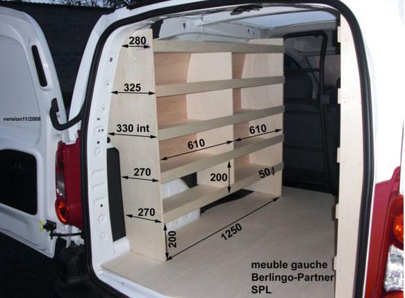 Souvent Aménagement en bois pour Fiat Doblo - Habillage interne Fiat Doblo  AX54