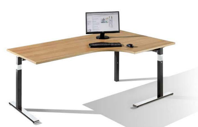 Bureau assis debout avec retour poste de travail assis debout