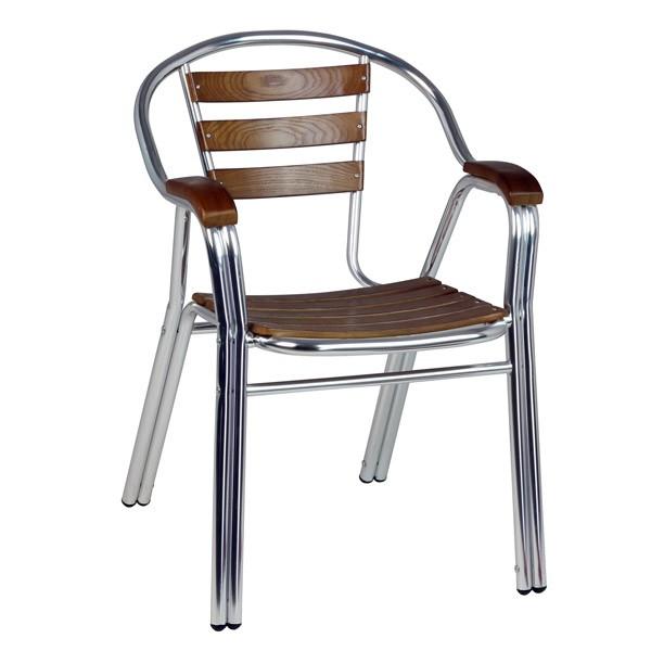 fauteuil de terrasse aluminium et bois - Fauteuil Terrasse