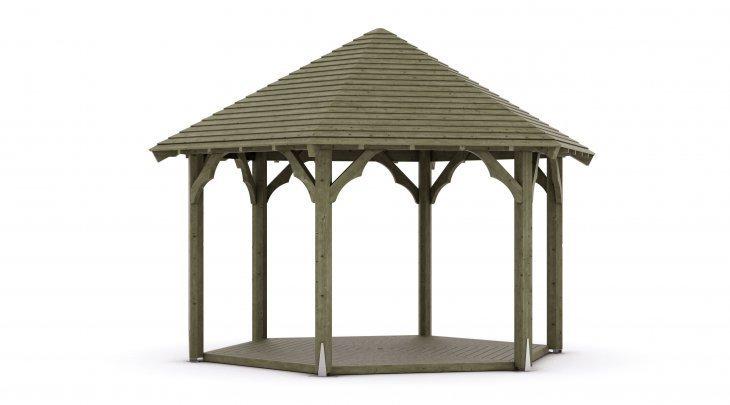 Kiosque de jardin bois hexagonal - Kiosque 8 côtés - Techni-Contact