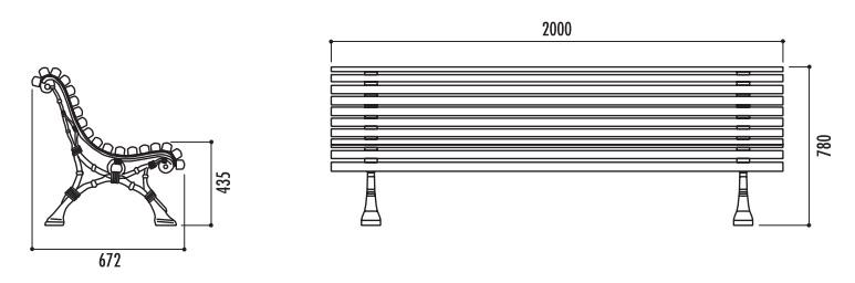entraxe de pi tement banc 1778 mm. Black Bedroom Furniture Sets. Home Design Ideas