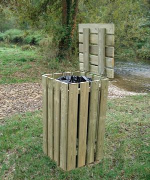 poubelle publique avec couvercle bois corbeille de ville bois techni contact. Black Bedroom Furniture Sets. Home Design Ideas