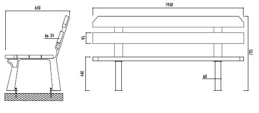 banc public 6 lames en bois banc jardin techni contact. Black Bedroom Furniture Sets. Home Design Ideas