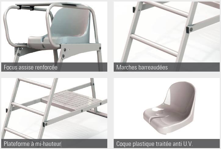 Chaise d 39 arbitre de tennis chaise lat rale tennis acier for Chaise arbitre tennis occasion