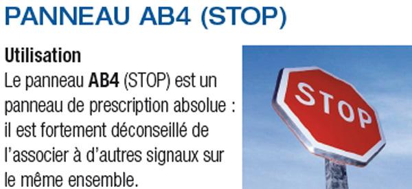 Panneau stop ab4 signalisation d 39 intersection et de priorit techni c - Prix d un panneau stop ...