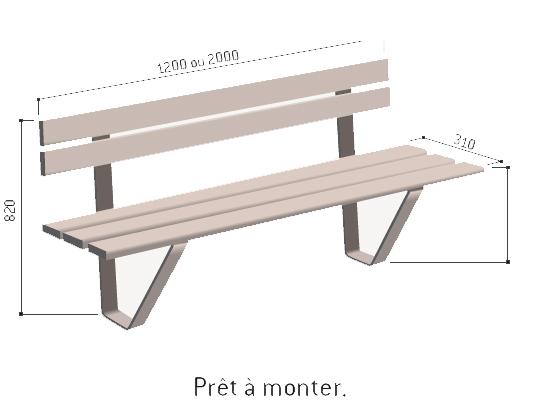 banc en bois pour jardin public banc de jardin techni contact. Black Bedroom Furniture Sets. Home Design Ideas
