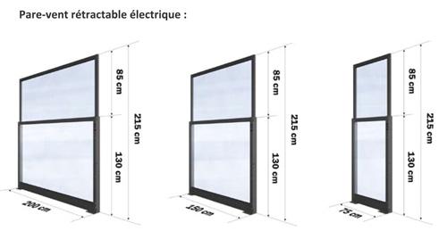 Pare Vent Retractable pare-vent rétractable électrique - cloison rétractable pour terrasse