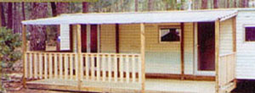 Terrasse couverte mobil home  Terrasse couverte toit en toile
