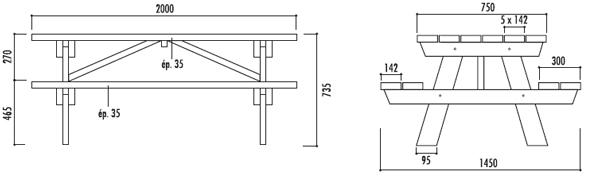Table de pique nique ext rieur table de pique nique en - Plan pour fabriquer table forestiere ...